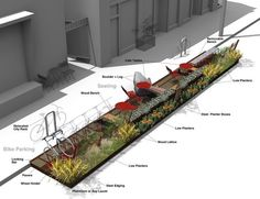 Street Parklet by O Z I I O: Piloted by Bay Area cities and adopted by… Urban Furniture, Street Furniture, Furniture Stores, Cheap Furniture, Luxury Furniture, Urban Landscape, Landscape Design, Tactical Urbanism, Landscape Architecture
