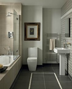I like the squarish toilet and heated towel bar.