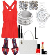 Cute in red and Chanel by kreatingeventsandmore on Polyvore featuring polyvore fashion style MANGO Chanel