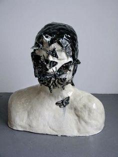 Black and white - head - butterfly - klara kristalova - ceramic - sculpture - figure Ceramic Pottery, Pottery Art, Ceramic Art, Pottery Ideas, Clay People, Ap Art, Sculpture Art, Ceramic Sculptures, Beach Art