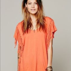 Free People fringe t-shirt Bohemian Free People tee, size XS but fits super loose. New without tags ✌ Free People Tops Tees - Short Sleeve