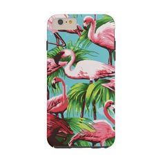 Cool Retro Pink Flamingos Tough Iphone 6 Plus Case ($54) ❤ liked on Polyvore featuring accessories and tech accessories