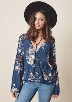 Sylvie Blouse #20-49 #blue #floral #l #m #pattern #s