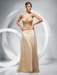 Sheath/ Column Straps Floor-length Elastic Woven Satin Tulle Evening Dress - US$ 278.99
