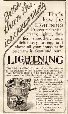 1913 NORTH BROS. AD FOR THE LIGHTNING ICE CREAM FREEZER