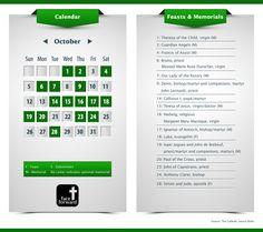 October Feasts and Memorials | Catholic Observances | Guardian Angels | Catholic Infographic | Catholic Calendar | Face Forward Columbus