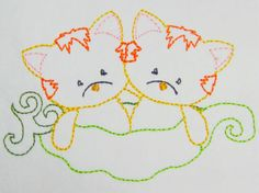 Color work Kitties in a peapod machine embroidery Pea Pods, Applique Designs, All Design, Machine Embroidery, Snoopy, Kids Rugs, Kitty, Artwork, Color