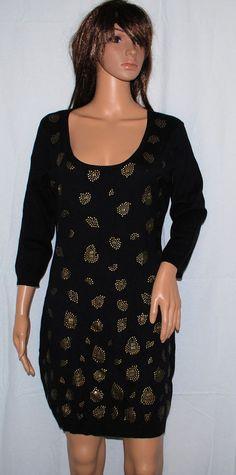NEW Material Girl Black & Bronze Studded  Sweater Dress Juniors Large L #MaterialGirl #SweaterDress