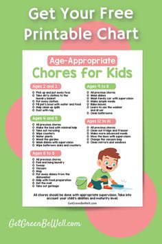 Get your free printable guide to age appropriate chores for your kids. Green Cleaning, Spring Cleaning, Age Appropriate Chores For Kids, Natural Disinfectant, Floors And More, Chore Charts, Washing Dishes, Cleaning Recipes, Green Life
