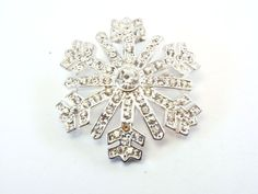 Vintage MONET All Around Clear Rhinestones Snowflake Pin Brooch #Monet #vintage #jewelry