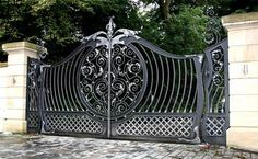 Custom Decorative Wrought Iron Gate picture from Qingdao Dehong Industry and Trade Co. view photo of Driveway Gate, House Main Gate, Steel Gate. Wrought Iron Gate Designs, Wrought Iron Decor, Wrought Iron Fences, Iron Gates Driveway, Iron Garden Gates, Garden Gates For Sale, Tor Design, Gates And Railings, Iron Railings