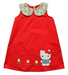 This dress is one of my favorite Misha lulu dresses.  Its vibrant in color, the exaggerated collar and guest appearance by Hello Kitty is everything I adore. All Misha Lulu products are made with love in the U.S.A. - 100% cotton (exclusive of decoration fabric and trim)- made with love in the U.S.A.- gentle wash with like colors inside out, no bleach, and hang dry only