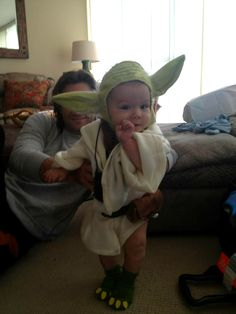 Jared Padalecki and his little Yoda for Halloween. The Force is strong with this one.