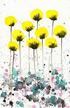 Compre 2 obtenga 1 gratis - acuarela pintura: acuarelas flores--impresión del arte--cálida brisa--flores amarillas, 5 x 7