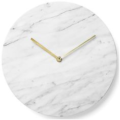 Menu Marble Wall Clock (380 SGD) ❤ liked on Polyvore featuring home, home decor, clocks, fillers, white, white clock, white home decor, marble home decor and white wall clock