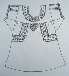 Mexican Blouse Embroidery Placement Ideas – Nicely Done Tunic Sewing Patterns, Dress Making Patterns, Doll Clothes Patterns, Sewing Clothes, Clothing Patterns, Mexican Embroidery, Folk Embroidery, Embroidery Patterns, Mexican Blouse