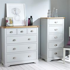 Beautiful Boston Light Grey 3 over 3 Drawer Chest. Free UK Delivery on all chest of drawers orders. White Chest Of Drawers, 3 Drawer Chest, Wood Chest, Drawer Unit, Grey Bedroom Paint, Painted Bedroom Furniture, Grey Paint, Jewelry Cabinet, Dresser As Nightstand