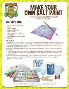 Make a shimmering, sparking painting with a little bit of art AND science! Make your own salt paint and learn about crystallization. Follow the Animal Jam Academy board for more fun and free STEM activities all summer! Have fun and #playwild