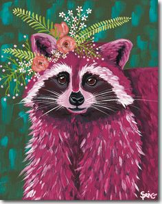Spring Whitaker adds more color to her magenta raccoon portrait by embellishing her with beautiful orange flower crown! Our canvas wall art and art prints are proudly printed in the USA using the coveted giclée method. Gouache, Art Buddha, Corona Floral, Colorful Animals, Animal Wallpaper, Fauna, Wildlife Art, Whimsical Art, Canvas Artwork