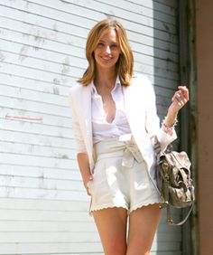 with a white shirt and white blazer