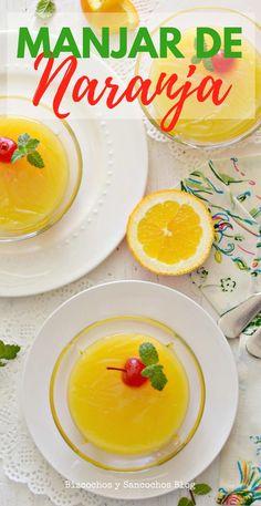 Manjar de naranja con maicena, sin huevos, leche ni lactosa, se prepara con sólo 3 ingredientes, es fácil de preparar, ligera y refrescante