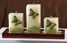 Butterfly Square Pillar Candle Set w/ Wooden Tray from Collections Etc. Homemade Candles, Diy Candles, Scented Candles, Pillar Candles, Candle Art, Candle Lanterns, Candle Making At Home, Candle Arrangements, Butterfly Decorations