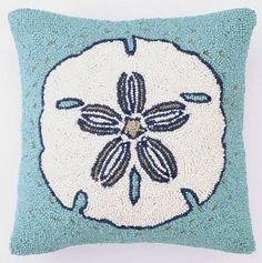 Nautical Luxuries Coastal Decor & Gifts - Hooked Wool Sand Dollar Pillow
