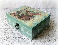 Wooden tea box  jewelry box  decoupage box  by CarmenHandCrafts