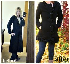 back coat refashion ruffles collage - considering doing this w/ my wool jacket from the Long Wool Coat, Black Wool Coat, Diy Clothing, Sewing Clothes, Clothes Refashion, Recycled Clothing, Costura Diy, Altering Clothes, Fashionable Snow Boots