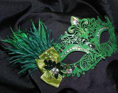Metallic Masquerade Mask in Shades of Green
