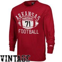 Arkansas Razorbacks Football Vault Long Sleeve T-Shirt-Cardinal
