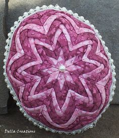 3.5-inch Quilted Easter Egg - Deep and Pastel Pink Floral with Beaded Lace Trim; from DellaCreations on etsy.com