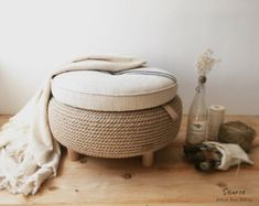 Farmhouse jute rope ottoman Upcycled grain sack and car tire Rope Tire Ottoman, Diy Ottoman, Tufted Ottoman, Tire Furniture, Handmade Furniture, Repurposed Furniture, Furniture Design, Tire Seats, Tire Chairs
