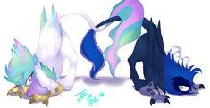 Celestia and Luna Griffons by FarewellDecency