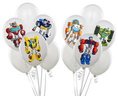 Transformers Rescue Bots Inspired Balloon Stickers, INSTANT DOWNLOAD, Cupcake toppers, Birthday stickers, Cake Decoration, Party Labels, on Etsy, $4.99