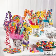 DIY- great idea for favors, a candy bar or possibly a centerpiece idea for the kid's table at a wedding!    Candy+Filled+Galvanized+Buckets+OrientalTrading.com
