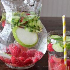 1. Cucumber, lime, watermelon, mint. 2. Orange, mint, rosemary, grapefruit. 3. Cucumber, mint, lemon. 4. Pineapple, mint. 5. Watermelon, rosemary.
