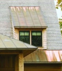 Copper metal accent flat shed dormer
