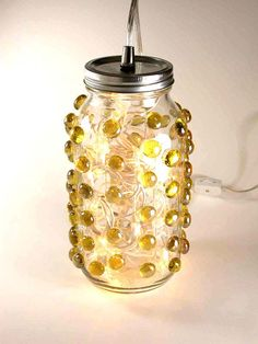 Lighting Big Mason Jar Lamp Home Decor Amber by ColorsOfLoveLight, $68.00