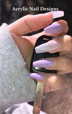 36 Gorgeous Coffin Acrylic Nail Ideas – Tiger Feng a coffin shaped nails - Coffin Nails Acrylic Nail Designs Coffin, Purple Acrylic Nails, Best Acrylic Nails, Purple Nails With Glitter, Matte Nails, Stiletto Nails, Long Nails, My Nails, Fall Nails