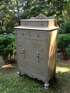 Antique dresser up cycled using Annie Sloan Chalk Paint Coco & Modern Masters Warm Silver metallic paint - by Christy Johnson