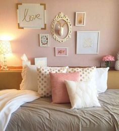 Copper bedroom, pink bedroom decor, blush and gold bedroom, college bedroom My New Room, My Room, Dorm Walls, Couple Bedroom, Teen Girl Bedrooms, Girl Rooms, Girls Paris Bedroom, Paris Bedroom Decor, Light Pink Girls Bedroom