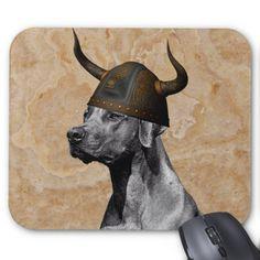 Rhodesian Ridgeback Dog with Viking Helmet Warrior Mouse Pad Custom Office Retirement #office #retirement