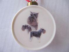 "Schnauzer Dog Ornament Christmas Porcelain Drum Shape 2.75"" $12.00 #Schnauzer JustLuvTreasures.com"