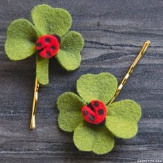 A DIY Hair Clip for St. Patrick's Day If you are like a lot of us in the studio, then you don't have very many options in the way of green clothing for St. Patrick's Day. But have no fear! This clove