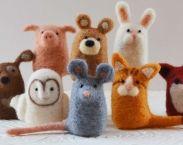3 needle felting animal kits, wool DIY complete fiber art kits for beginners