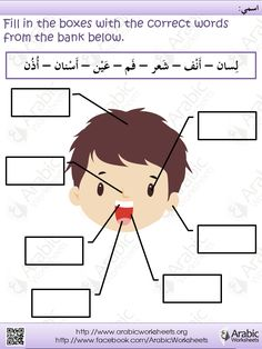 Arabic Worksheet Face http://www.facebook.com/Arabicworksheets