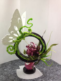 Sugar showpiece with pastillage butterfly - set design with some of my own stylings