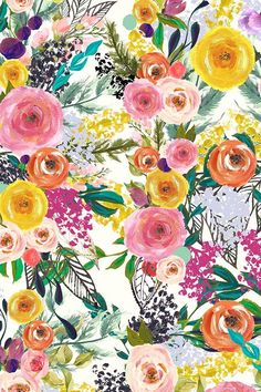 Autumn blooms painted floral by theartwerks - hand painted colorful flowers on fabric, wallpaper, and gift wrap. bold flowers in a painterly style in orange Cute Backgrounds, Cute Wallpapers, Wallpaper Backgrounds, Iphone Wallpaper, Flower Wallpaper, Pattern Wallpaper, Fabric Wallpaper, Bright Wallpaper, Inspiration Art