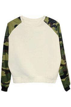 Military Print  Trimmed Sweatshirt